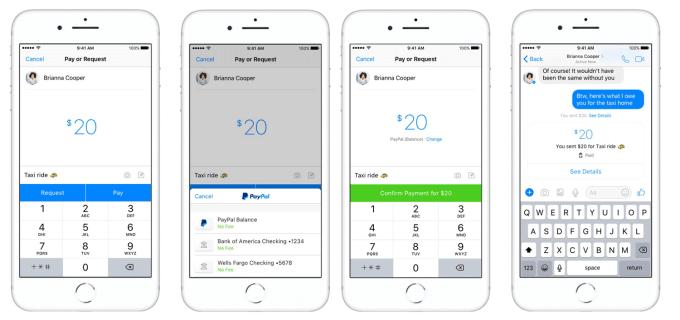 Przelewy i żądanie przelewów na Fb Messengerze za pomocą PayPal (screeny)
