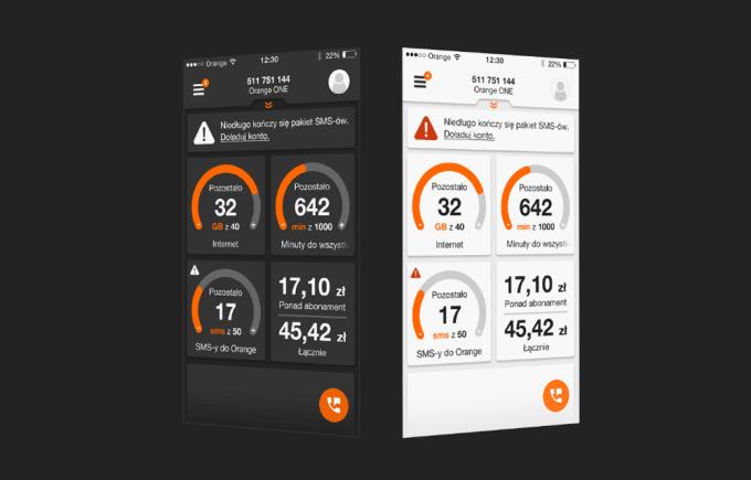 Wersje kolorystyczne (jasna i ciemna) aplikacji Mój Orange 4.0.2