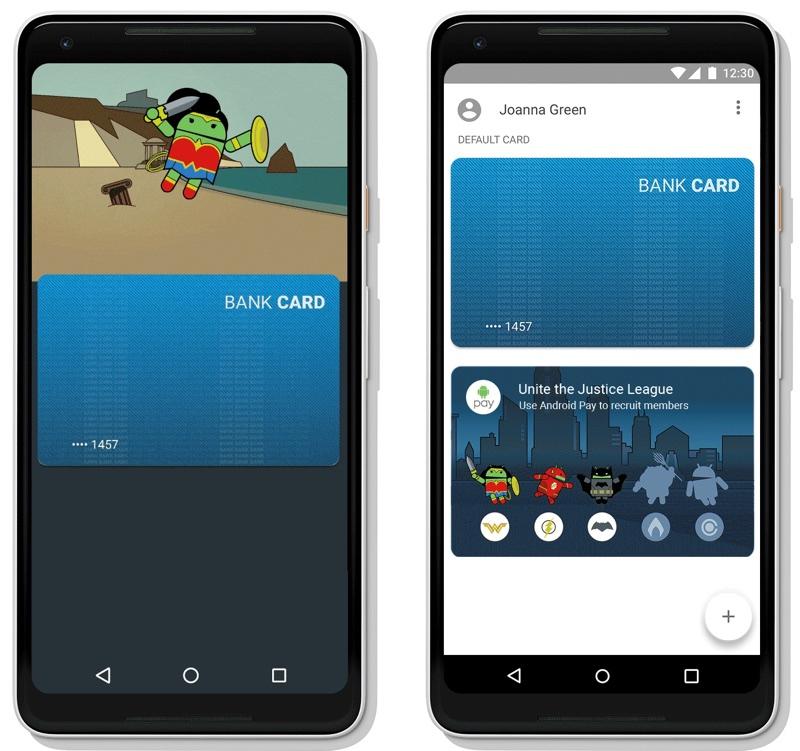 """Superbohaterowie z filmu """"Liga Sprawiedliwości"""" w aplikacji Android Pay"""