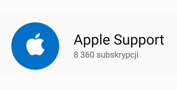Kanał wsparcia technicznego Apple Support na YouTube'ie