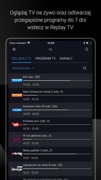 Screen aplikacji mobilnej Horizon Go Polska