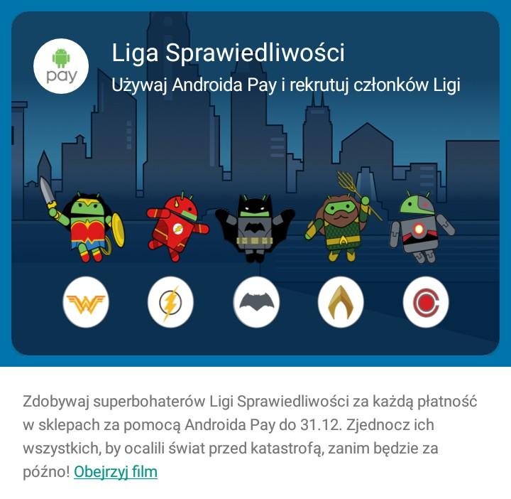 """Karta z bohaterami filmu """"Liga Sprawiedliwości"""" w aplikacji Android Pay"""