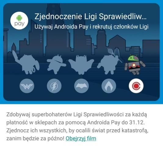 Polska karta z bohaterami Ligii Sprawiedliwości w Androidzie Pay (od Kai)