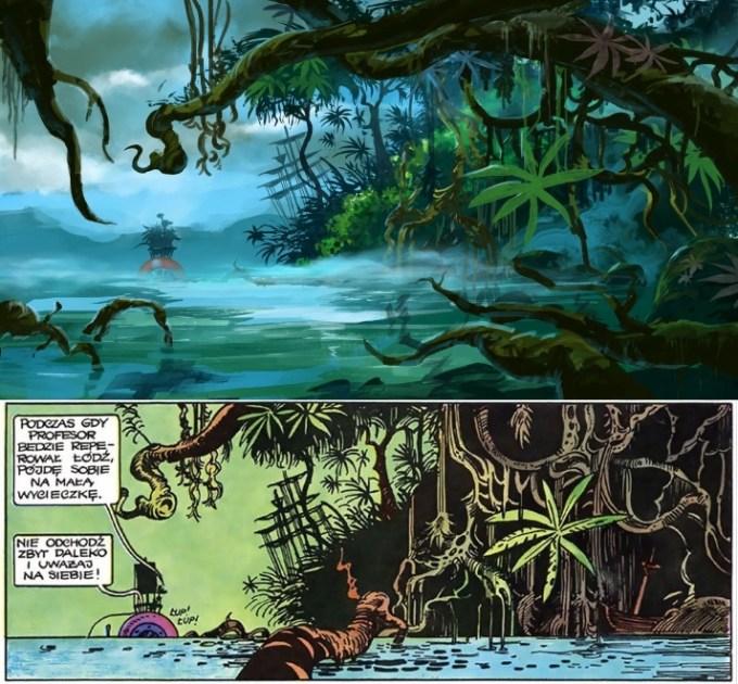 Kadr z filmu (na górze), komiks (na dole)