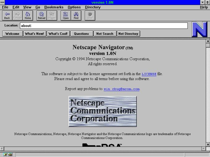 Przeglądarka internetowa Netscape Navigator 1.0