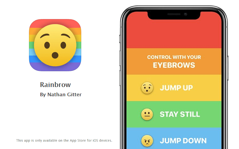 Rainbow iPhone X game (Face ID, True Depth)