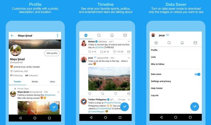 Screen aplikacji mobilnej Twitter Lite