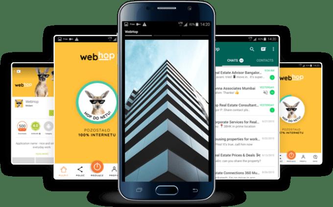 Screeny z aplikacji WebHop