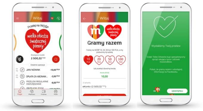 Podwajanie wpłat na WOŚP przez aplikację mobilną mBanku