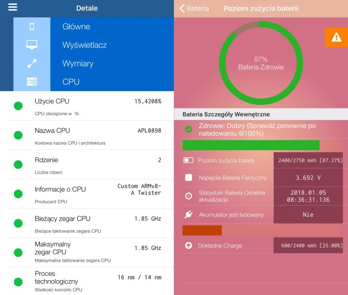 Informacje na temat procesora (CPU) i baterii iPhone'a w aplikacji Lirum Device Info Lite (screen)