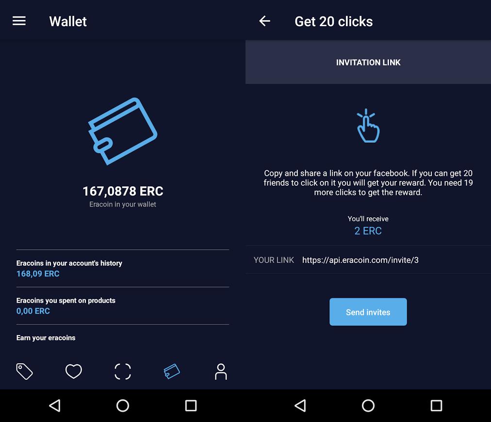 EraCoin - screen aplikacji mobilnej