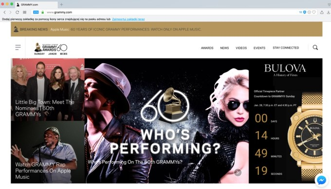 Grammy 2018 przez przeglądarkę Opera z VPN
