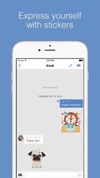 Screen aplikacji Imo (iOS) - wiadomości tekstowe