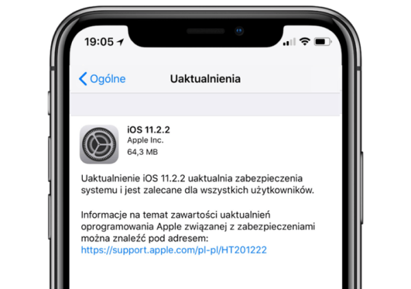 Poprawka iOS 11.2.2 uaktualnia zabezpieczenia systemu