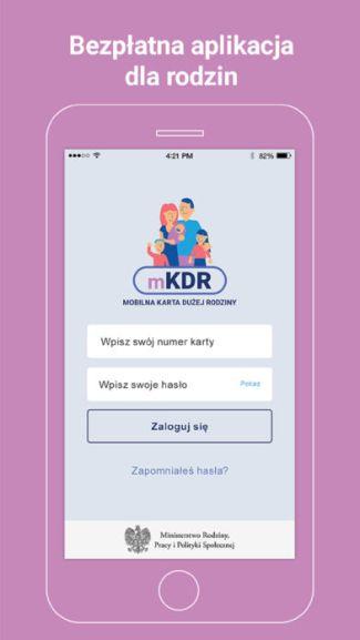 Screen aplikacji mKDR (mobilna Karta Dużej Rodziny)