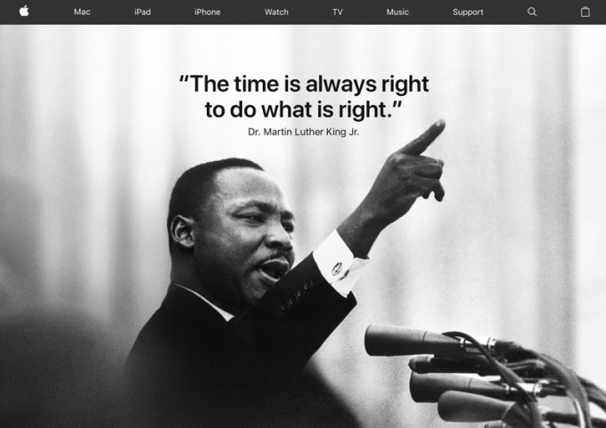 Martin Luther King Jr. na stronie WWW Apple'a