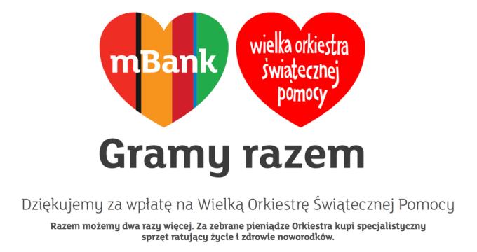 mBank podwaja wpłaty na 26. finał WOŚP
