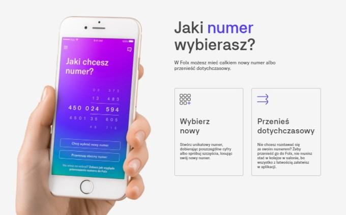 Sieć Folx - wybór numeru telefonu przez aplikację