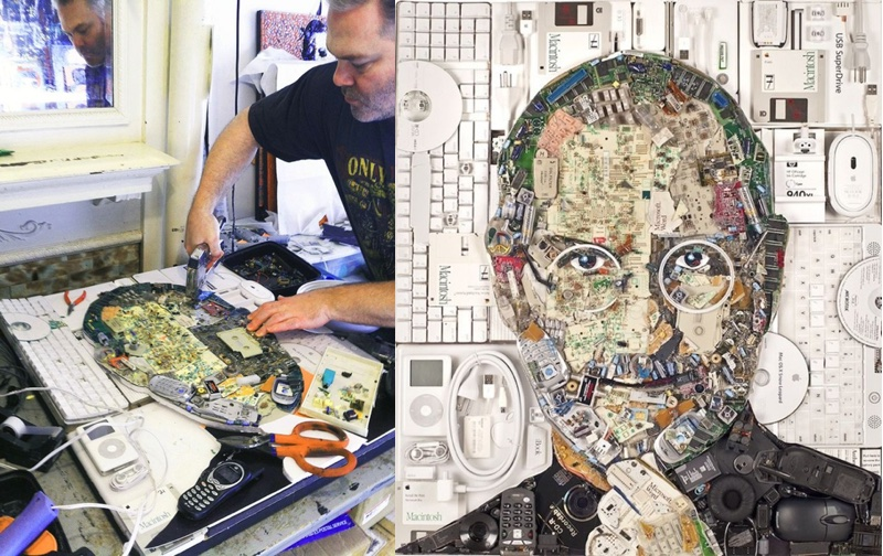 Po lewej artysta Jason Mecier, po prawej portret Steve'a Jobsa wykonany z 9 kg odpadów elektronicznych