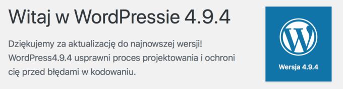Witaj w WordPressie 4.9.4