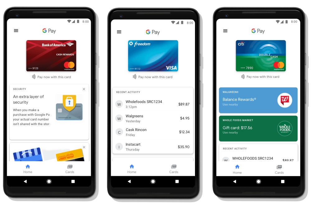 Screen aplikacji mobilnej Google Pay (GPay)