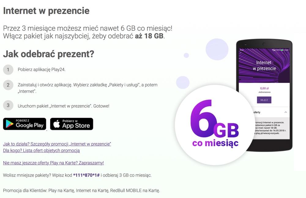 Internet w prezencie w Play do 18 GB