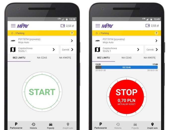 Nowe płatności za parkowanie w mPay (screen z aplikacji mobilnej)