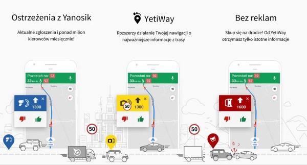 YetiWay to płatne rozszerzenie dla aplikacji Yanosik