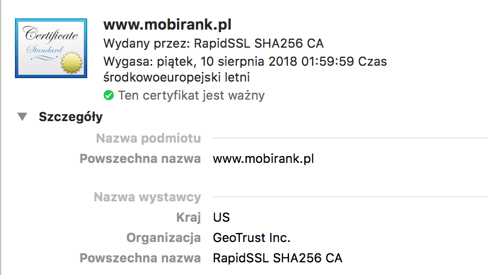 Certyfikat SSL Geotrust dla mobirank.pl