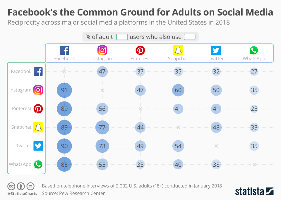 Udziały dorosłych użytkowników korzystających z kilku sieci społecznościowych (USA, sty 2018)