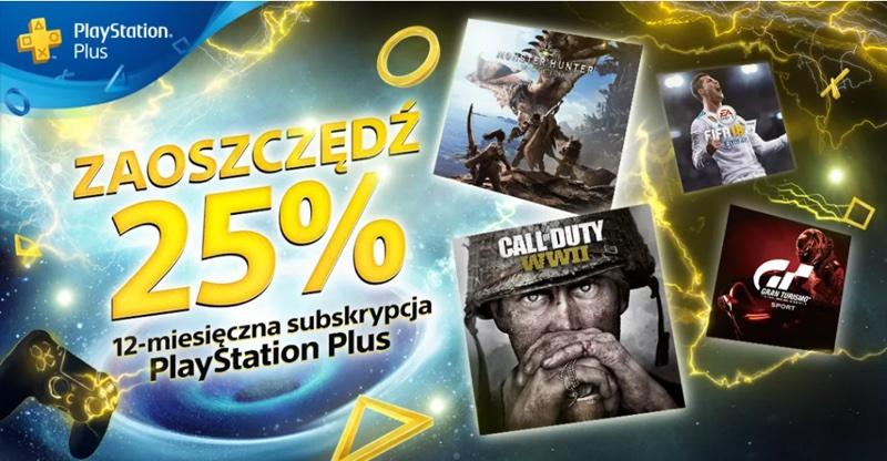 Roczna subskrypcja PlayStation Plus 25% taniej (do 23 marca 2018 r.)