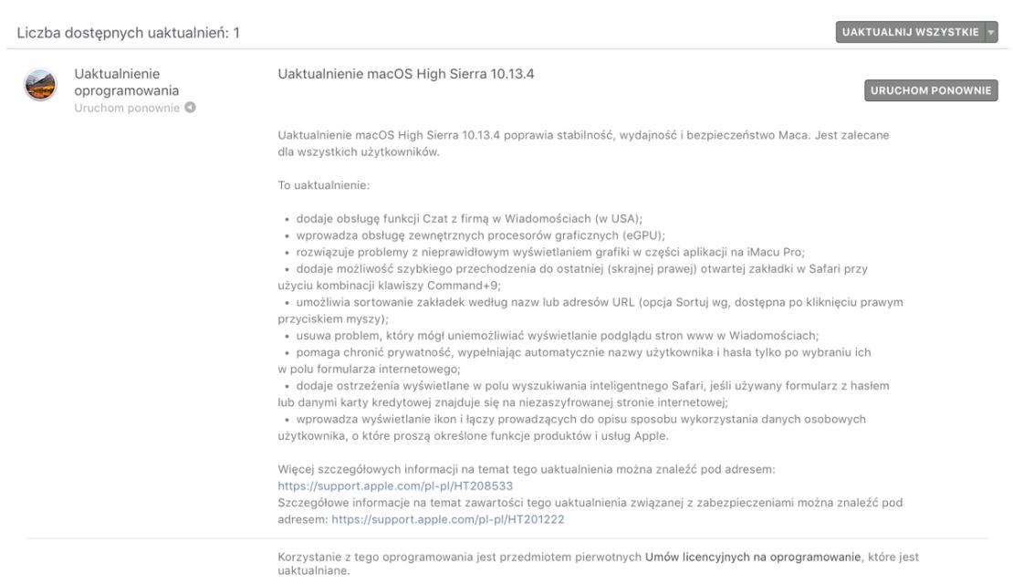 Szczegóły uaktualnienie macOS 10.13.4