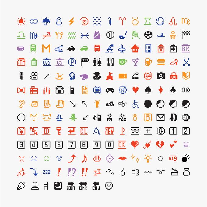 176 oryginalnych emoji, Shigetaka Kurita / NTT DOCOMO, 1999