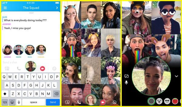 Grupowe rozmowy wideo na Snapchacie i oznaczanie znajomych