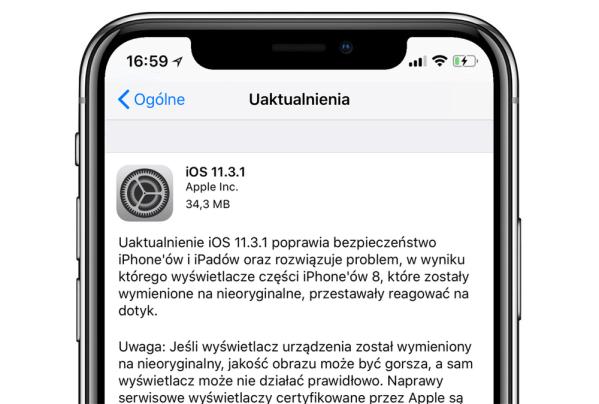 Apple wydało aktualizację systemu iOS 11.3.1