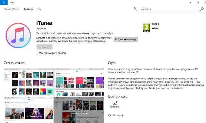 iTunes w sklepie Microsoft Store na Windowsa 10 (zrzut ekranu)