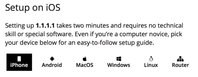 Setup 1.1.1.1 na iOS-ie