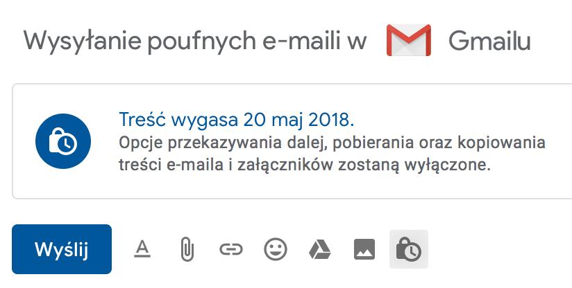 Wysyłanie poufnym e-maili w nowym Gmailu