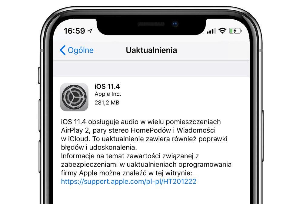iOS 11.4 w trybie OTA (aktualizacja)