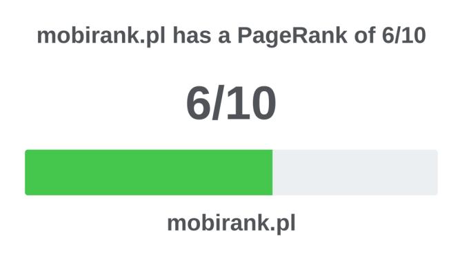 Wartość PageRank (OPR) serwisu mobiRANK.pl (6/10 – dane za maj 2018 r.