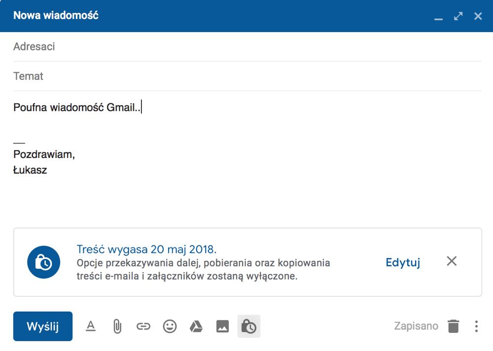 Okno tworzenia nowej wiadomości w trybie poufnym Gmaila