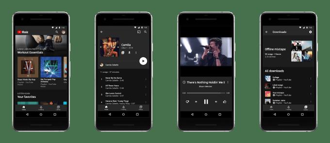 Zrzuty ekranu z nowej aplikacji mobilnej YouTube Music