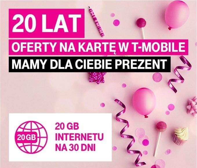 10 GB w prezencie w T-Mobile z okazji 20-lecia oferty na kartę Tak Tak