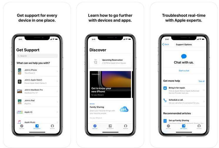 Aplikacja Apple Support (screen)
