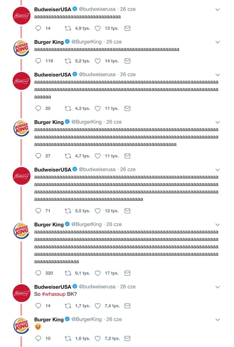 """Rozmowa """"Whassup"""" między Budweiser USA i Burger King na Twitterze (cd.)"""