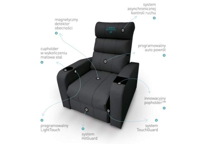 Elementy rozkładanego fotela kinowego w Helios Dream