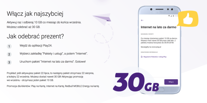 Jak odebrać prezent 30 GB internetu mobilnego w Play na kartę? (instrukcja)