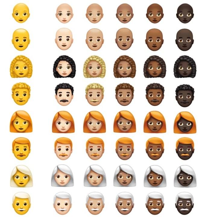 Emoji z różnymi włosami i kolorami skóry Apple 2018 (Unicode 11.0)