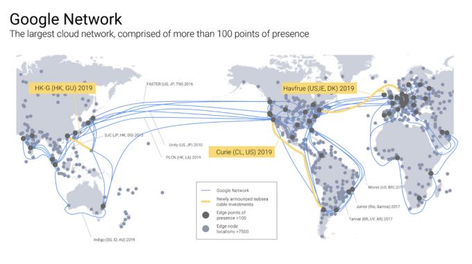 Infrastruktura podmorskich kabli internetowych firmy Gogle