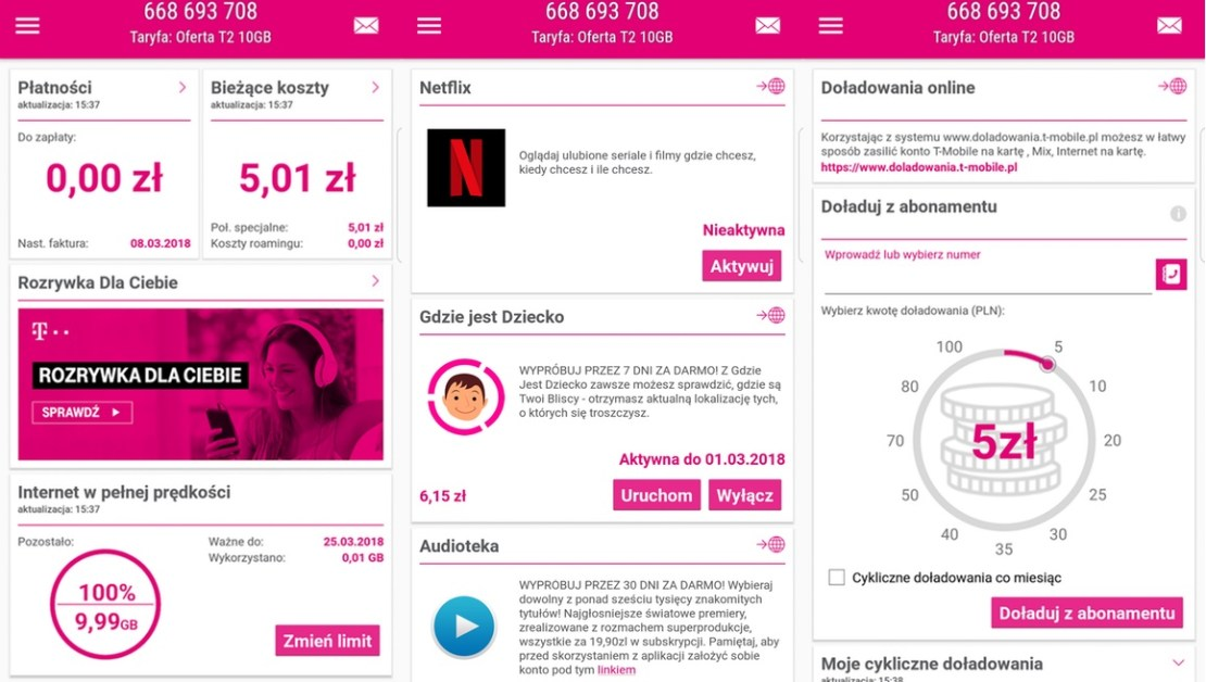 "Aplikacja mobilna ""Mój T-Mobile"" (beta) na Androida"
